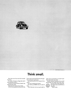 "Volkswagen's ""Think Small"" print campaign"